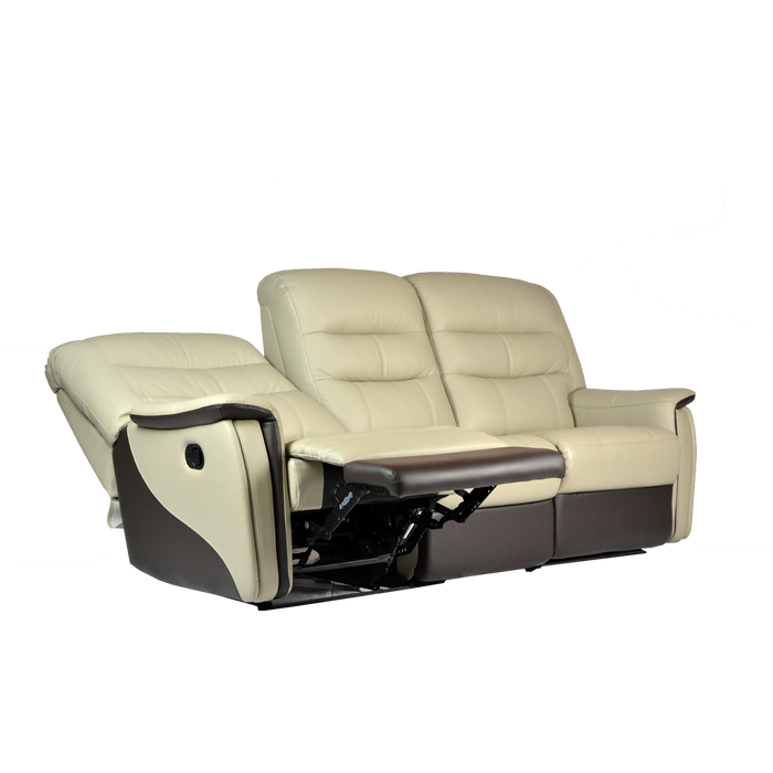 Avim 3 Seater Recliner Sofa, Half Leather - Novena Furniture Singapore - Recliners