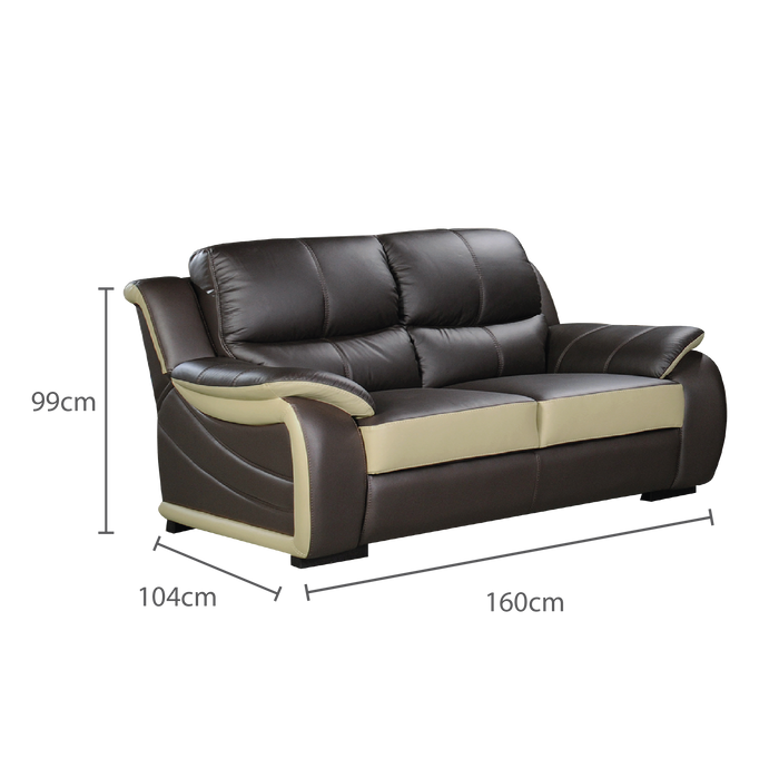 Brisbane 2 Seater Sofa, Half Leather
