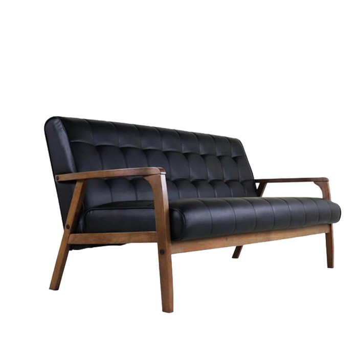 [ONLINE EXCLUSIVE] Tucson 3 Seater Sofa, Vinyl Leather with Solid Wood Frame - Cocoa/Espresso - Novena Furniture Singapore
