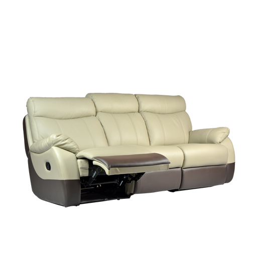 Fabia 3 Seater Recliner Sofa, Half Leather - Novena Furniture Singapore