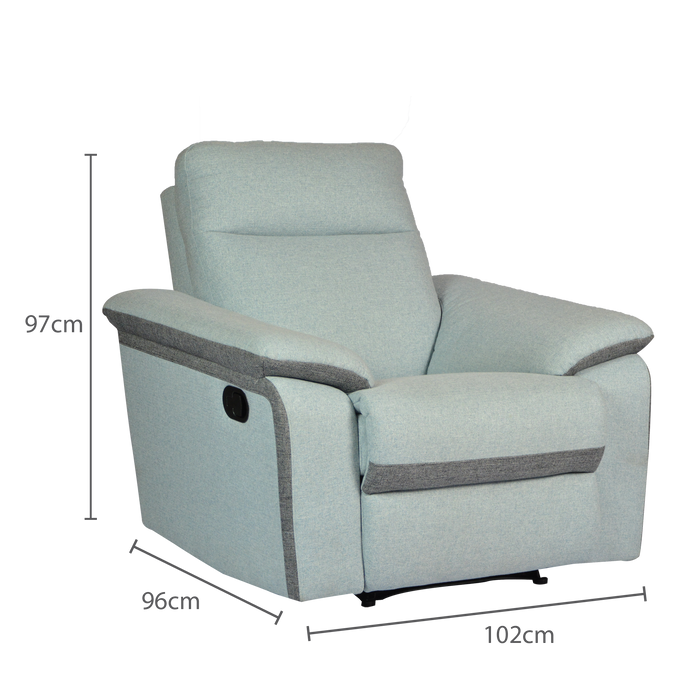 Issac Recliner Armchair, Fabric - Novena Furniture Singapore