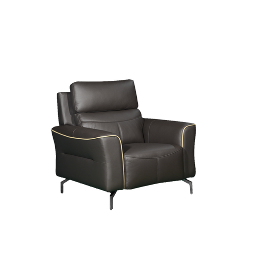 Muzia 1 Seater Sofa, Half Leather - Novena Furniture Singapore