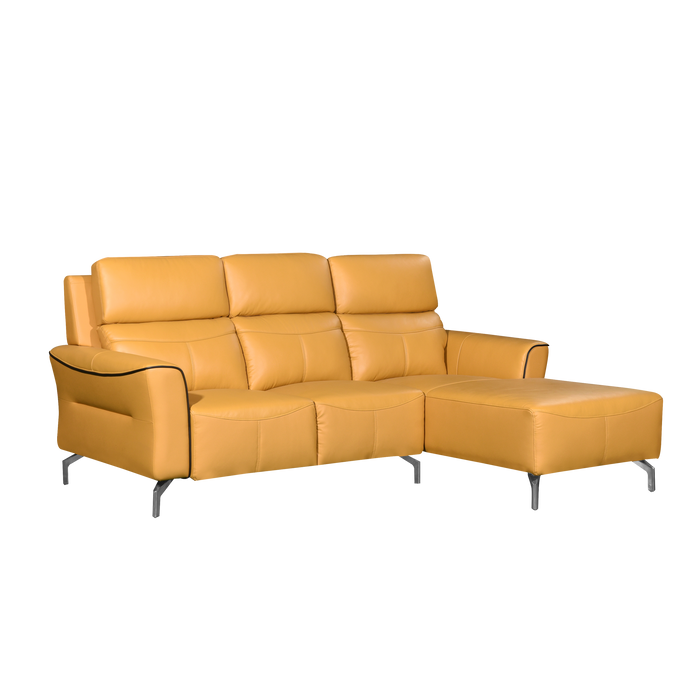 Muzia L-Shaped Sofa, Half Leather - Novena Furniture Singapore