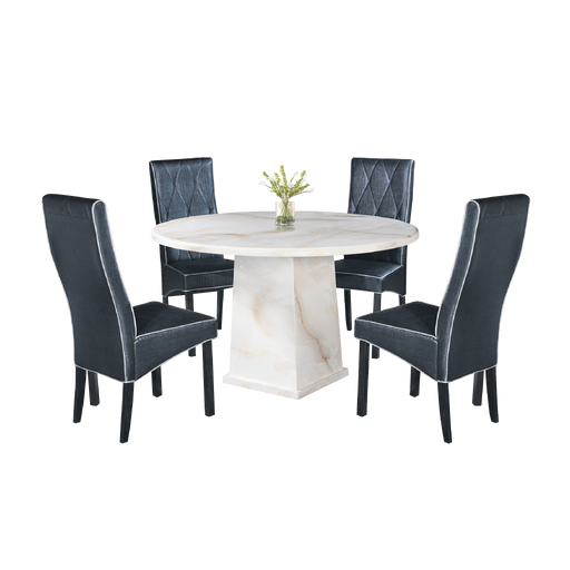 Suzetta 1.2m Round Dining Set, Marble - Novena Furniture Singapore