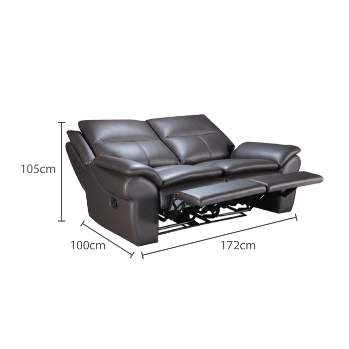 Tabby 2 Seater Recliner Sofa, Half Leather - Novena Furniture Singapore - Recliners