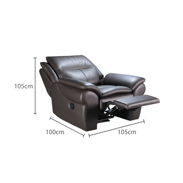 Tabby 1 Seater Recliner Sofa, Half Leather - Novena Furniture Singapore