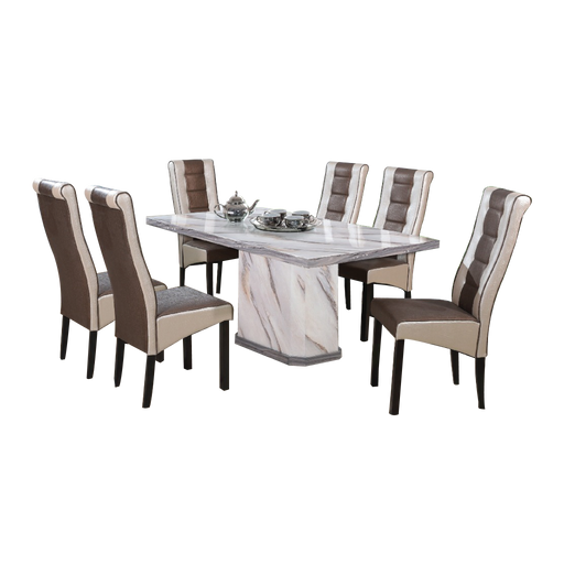 Tilda 1.6m Dining Set, Marble - Novena Furniture Singapore - Dining Sets