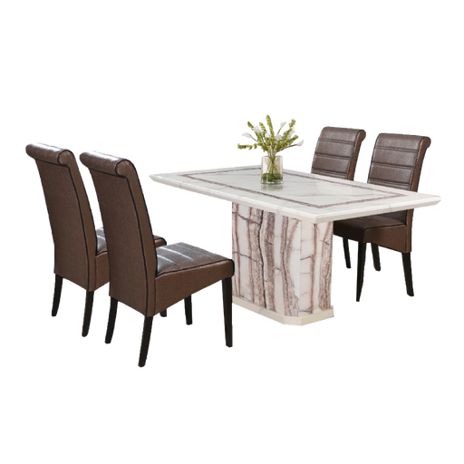 Trinetta 1.6m Dining Set, Marble - Novena Furniture Singapore - Dining Sets