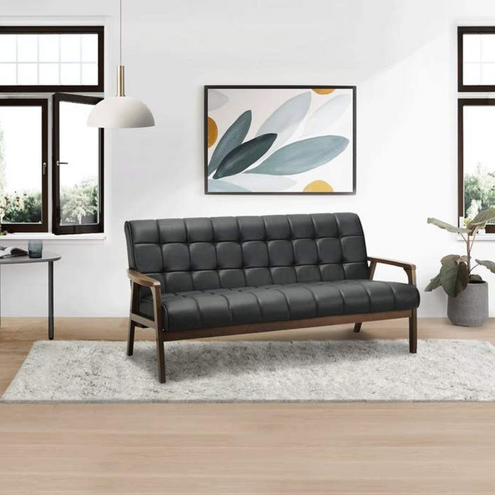 [ONLINE EXCLUSIVE] Tucson 3 Seater Sofa, Vinyl Leather with Solid Wood Frame - Cocoa/Espresso - Novena Furniture Singapore - Sofas