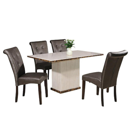 Ken 1.4m Dining Set, Marble - Novena Furniture Singapore