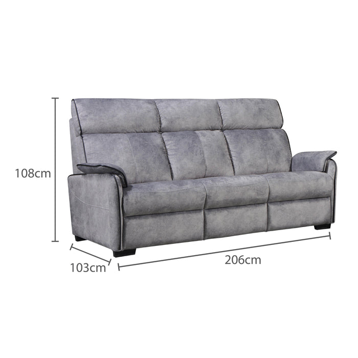 Silas 3 Seater Recliner Sofa, Fabric