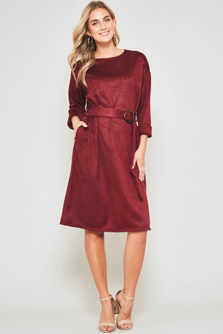 The Suede Swayed Dress