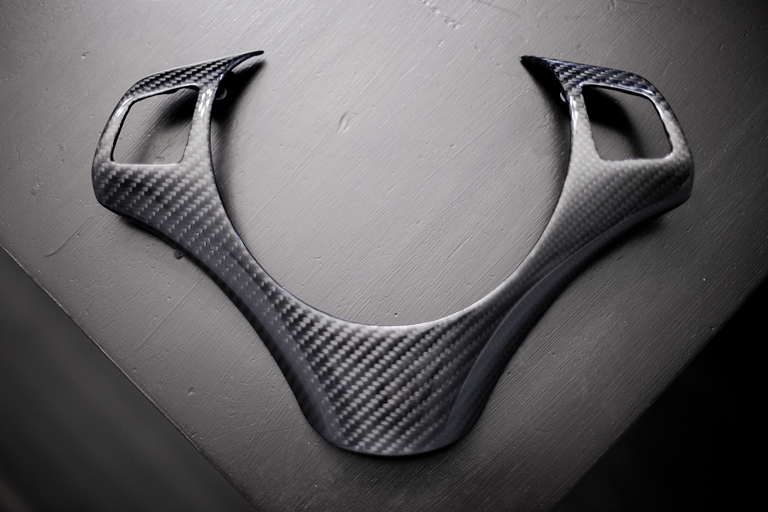 Carbon fiber steering wheel trim