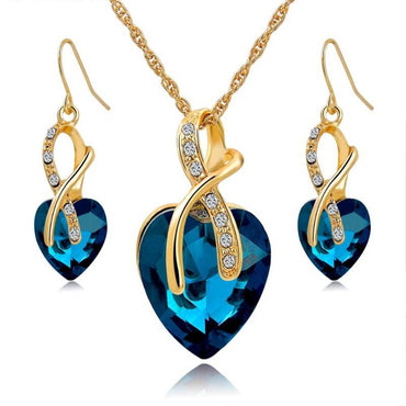 Crystal Heart Necklace & Earrings Set