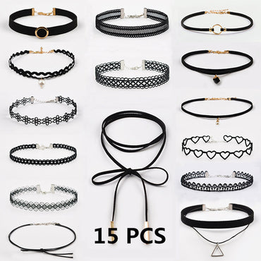 15 Pieces Choker Necklace Pack