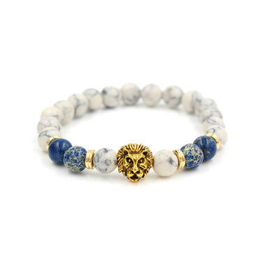 The White Stone Lion Bead Bracelet