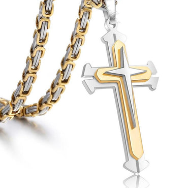Stainless Steel Knight Cross Necklace