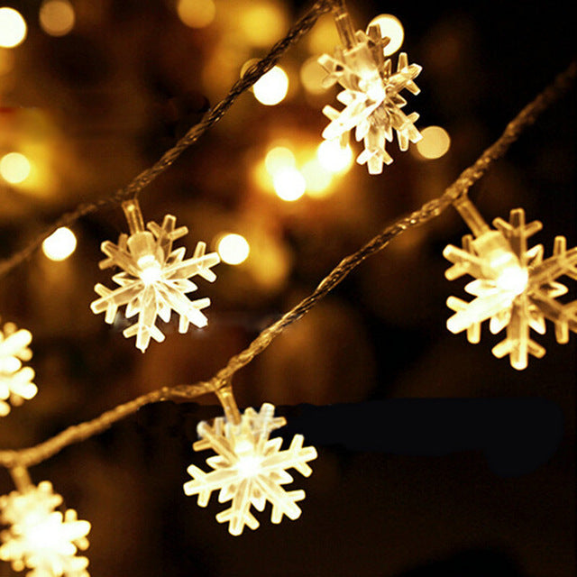 Outdoor Battery Operated Snowflake 20 LED Christmas Lights