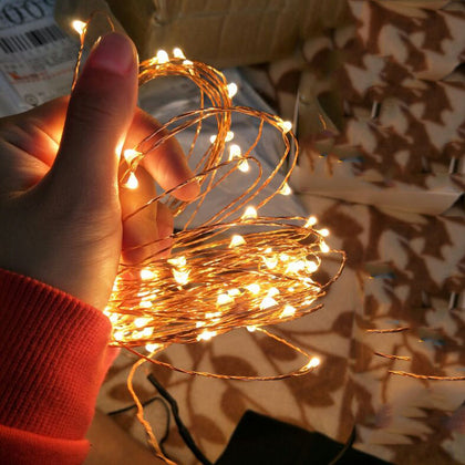 Waterproof 33FT Battery Powered LED Copper Fairy Lights