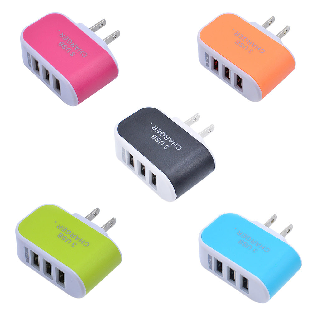 3USB Candy Color Glow 5V 3.1A Intelligent Travel Charger