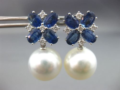 LARGE 2.13CT DIAMOND AAA SAPPHIRE & SOUTH SEA PEARL 18KT WHITE GOLD 3D EARRINGS