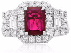 GIA CERTIFIED 2.66CT DIAMOND & AAA RUBY 18KT WHITE GOLD 3 STONE ENGAGEMENT RING