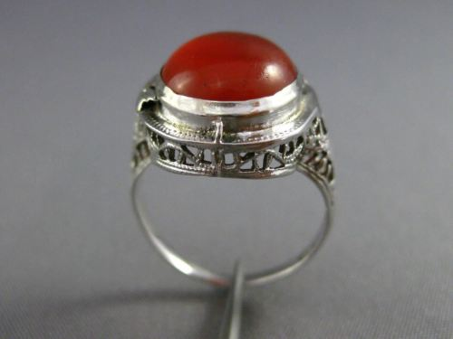 ANTIQUE 14KT WHITE GOLD HANDCRAFTED ORANGE BROWN AGATE OPEN FILIGREE RING #25394