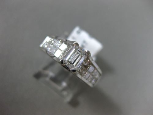 1.65CT PRINCESS & EMERALD CUT DIAMOND 14KT WHITE GOLD SOLITAIRE ENGAGEMENT RING