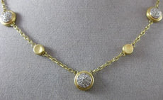 ESTATE .50CT DIAMOND 14KT WHITE & YELLOW GOLD CLUSTER BY THE YARD MATTE NECKLACE