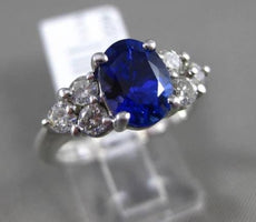 ESTATE 2.26CT DIAMOND & TANZANITE 14KT WHITE GOLD 3D OVAL LUCIDA ENGAGEMENT RING