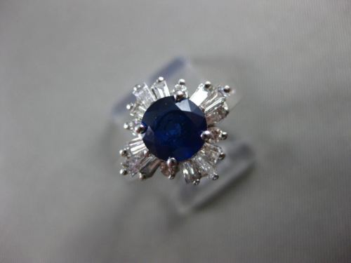 ESTATE WIDE 2.05CT DIAMOND & AAA SAPPHIRE 14KT WHITE GOLD ENGAGEMENT RING #16343
