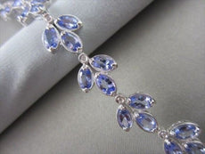 ESTATE WIDE 8.81CT DIAMOND & TANZANITE 14K WHITE GOLD FILIGREE MILGRAIN BRACELET