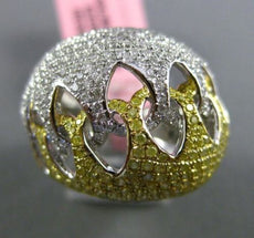 ESTATE LARGE 2.86CT WHITE & YELLOW DIAMOND 18KT TWO TONE GOLD 3D LOVE KNOT RING