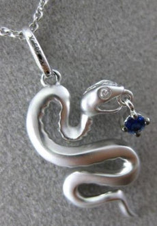 ESTATE .35CT DIAMOND & AAA SAPPHIRE 14KT WHITE GOLD 3D HANDCRAFTED SNAKE PENDANT