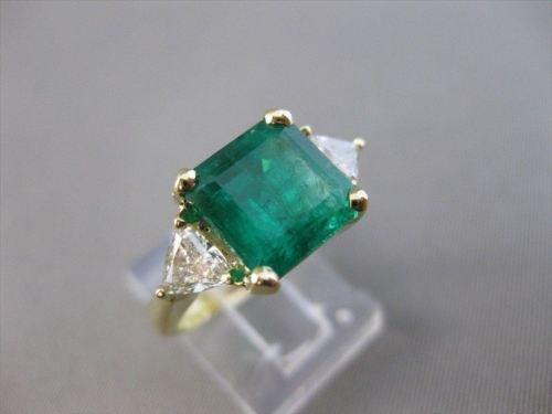 ANTIQUE 4.65CTW TRILLION DIAMOND EMERALD 18K GOLD COCKTAIL ENGAGEMENT RING 21485