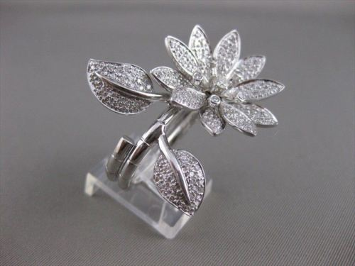 LARGE ESTATE DIAMOND 14KT WHITE GOLD COIL FLOWER COCKTAIL RING 32MM FG VS #2641