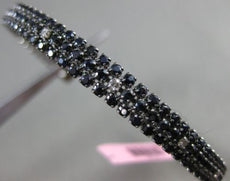ESTATE 5.46CT DIAMOND & SAPPHIRE 14KT BLACK GOLD 3 ROW FLEXIBLE BANGLE BRACELET