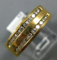 ESTATE .44CT ROUND DIAMOND 14KT YELLOW GOLD 3D CLASSIC TWO ROW MENS RING 6.5mm
