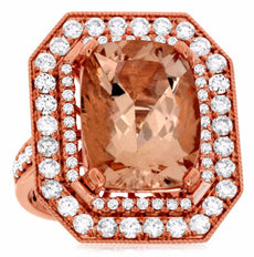 LARGE 11.55CT DIAMOND & AAA MORGANITE 14KT ROSE GOLD DOUBLE HALO ENGAGEMENT RING