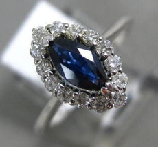 ESTATE .85CT DIAMOND & AAA MARQUISE SAPPHIRE 14K WHITE GOLD HALO ENGAGEMENT RING