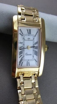 ESTATE LARGE 14K YELLOW GOLD PHILLIP GERARDOT SWISS RECTANGULAR LADIES WATCH 661