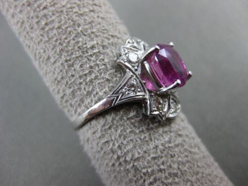 ANTIQUE 3.31CT OLD MINE DIAMOND & PINK SAPPHIRE PLATINUM FILIGREE RING #21234