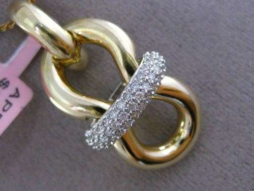 ESTATE LARGE .40CT DIAMOND 14K WHITE & YELLOW GOLD 3D PAVE BOW LOVE KNOT PENDANT