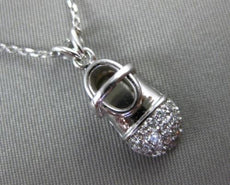 ESTATE .25CT DIAMOND 14KT WHITE GOLD HANDCRAFTED BABY SHOE PENDANT CHARM #20882