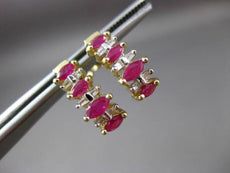 ANTIQUE 1.04CT DIAMOND & AAA RUBY 14KT YELLOW GOLD GRADUATING EARRINGS #23447