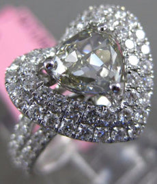 ESTATE LARGE 2.06CT WHITE & GREY TRILLION DIAMOND 18K WHITE GOLD ENGAGEMENT RING