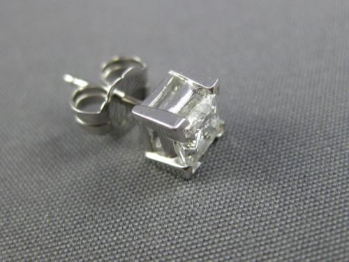 1.03CT DIAMOND 14K WHITE GOLD 3D CLASSIC PRINCESS SOLITAIRE STUD EARRINGS #25789