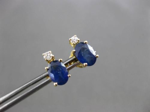 ANTIQUE 1.27CT DIAMOND & AAA SAPPHIRE 14KT YELLOW GOLD 3D STUD EARRINGS #24460