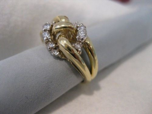 WIDE ESTATE DIAMOND 14K WHITE YELLOW GOLD COCKTAIL ROPE KNOT RING F/G VVS #19483