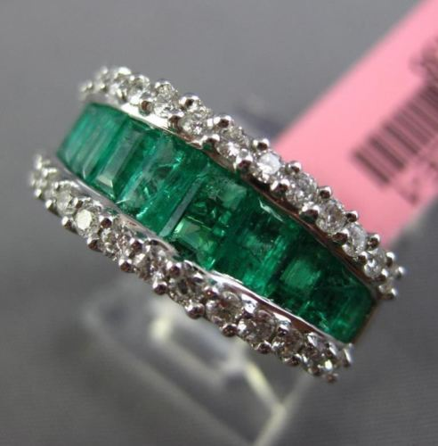 WIDE 2.16CT DIAMOND & AAA EMERALD 18KT WHITE GOLD SEMI ETERNITY ANNIVERSARY RING